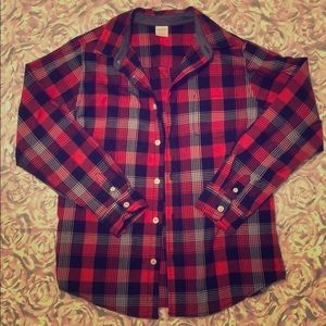 Red/black button down size 10/12
